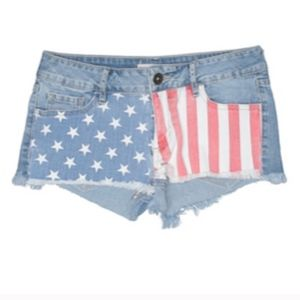 American Flag Festival Country Cutoff Denim Shorts